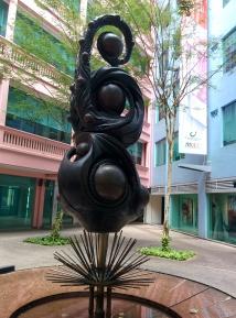 Sculpture next to an art gallery