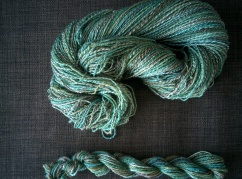 top: fractal, bottom: 22m chain-plied 3-ply